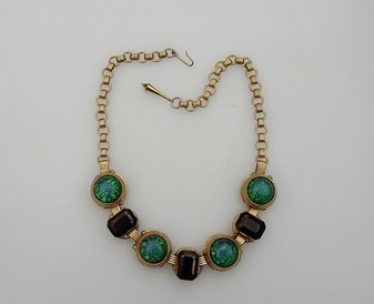 Christian Dior CATS EYE Glass Necklace Emerald Cut Bronze Stones Francis Winter