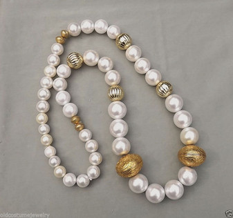 Vintage Big Glass Pearls Necklace Runway Couture Huge Gold Beads