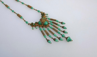 Vintage Neiger, Czech, Green Glass & Ornate Brass Filigree Necklace Long Dangles