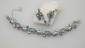 1957 HOLLYCRAFT Bracelet Earrings SET Light Sapphire Blue AB Rhinestones