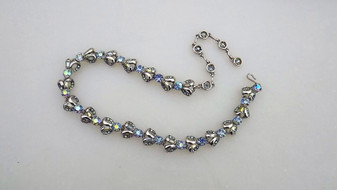1957 HOLLYCRAFT Necklace Light Sapphire Blue AB Rhinestones, Heart Shaped Links