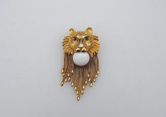 Vintage DeNicola Lion Head Brooch Gold Herringbone Chains Milk Glass Cab Big Pin