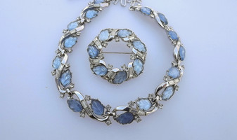 "Vtg Crown Trifari Moonstone Glass Leaves Fruit Salad Necklace & Brooch Set ""Allure"" Collection 1957"