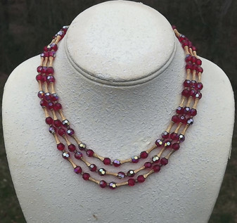 Vintage Trifari Necklace 3 Strands Red Cranberry AB Glass Beads Gold Plated