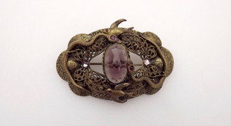 Antique Snake Blue Bird Butterfly Brass Bronze Glass Amethyst Rubies Sash Pin