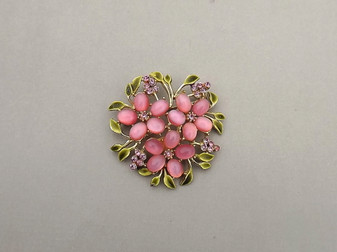 Unsigned Coro Pink Glass Cabs 3 Flower Springtime Brooch Green Enamel Leaves