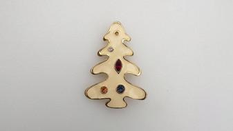 Vintage Modernist Enamel Christmas Tree Pin Abstract Melting Creamy Xmas Brooch