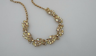 Vintage Trifari Rhinestone Necklace springtime colors In Pastel Yellow And Clear AB Stones, Gold Plated Metal