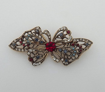 """Vintage Mughal Style Butterfly Brooch Signed """"ART"""" Faux Turquoise, Sapphire, Ruby Rhinestones Glass Beads"""