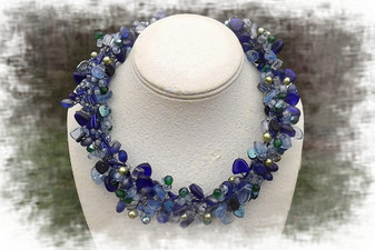 Vintage Jewelry Statement  Necklace All Glass Beads, Cobalt Blue, Iridescent, Leaves, Frosted, Ab, And More