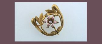 Antique Victorian Jewelry Pinchbeck Ormolu GF Enamel Pearl Brooch Fob Hallmark French