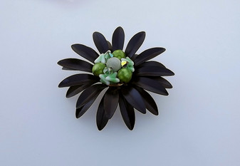 1950's Black Enamel Flower Pin Poured Glass Chevron & Ab Crystal Beads Double Row Long Daisy Petals