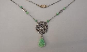 Art Nouveau Czech Jewelry Necklace Molded Peking Glass Faux Jade Jadeite Drop Lotus Leaf Garden Design