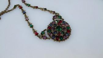 Vintage, Czech, Jewel Tone, Glass and Brass, Medallion Necklace, Jeweled Neckchain