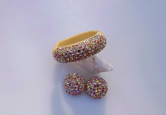 Fabulous  AB Rhinestones Hinged Plastic Clamper Bracelet Earrings Set Exceptional Condition