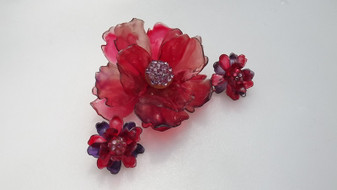 Huge Vintage Red Cellulose Acetate Flower Brooch Pin & Earrings Set Rhinestones Summer Of Flowers