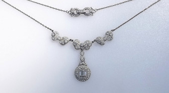 Art Deco Lavalier Necklace Paste Stones, Baguettes, Deco Rhinestone Clasp, Signed BL