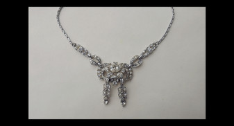 Vintage Coro Art Deco Rhinestone Necklace Silver Rhodium Plated Old Costume jewelry