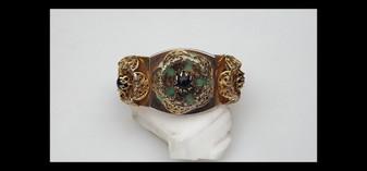 Vintage Sandor Renaissance Revival Hinged Cuff Bracelet Green Peking Glass, Filigree Metal, Old Costume Jewelry
