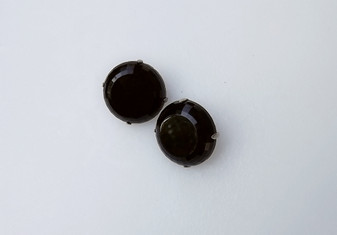 Old Hollywood Vintage Jet Black Glass Earrings By Hobe' Faceted Thick Wide Edges