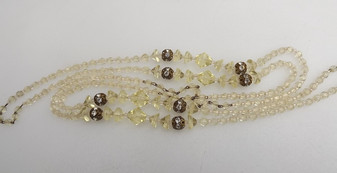 "Art Deco Czech Necklace Pale Yellow Bicone & Uranium Glass Beads Rope Length 56"" Old Costume Jewelry"