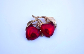 Vintage Napier Red Twin Apple Brooch Deep Red Double Fruit Rare Pin Amos Parrish