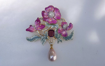 JOAN RIVERS Pink Enamel Dogwood Flowers BROOCH Rhinestones Pearl Drop Bouquet Beauty