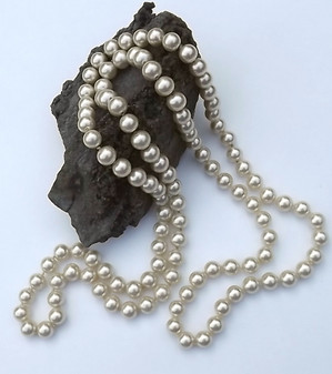 Vintage Glass Pearls Necklace Rope Length 48 inches Long 10mm Heavy Gorgeous Old Costume Jewelry