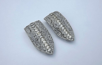 Art Deco Invisible Set Paste Pave' Rhinestone Dress Clips 1930's Rare Vintage Brooches Old Costume Jewelry