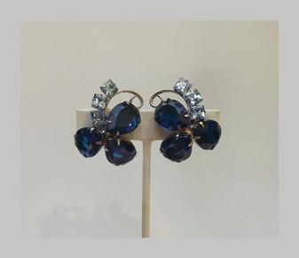 Rare Juliana Couture Earrings Huge Pear Cut Crystal Stones 3D Wrap Around Earlobe Fabulous Old Costume Jewelry