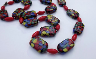 Rare Black Splatter Glass Necklace With Poured Glass Beads Big Puffy Rectangle Beads Vibrant Colors Old Costume Jewelry