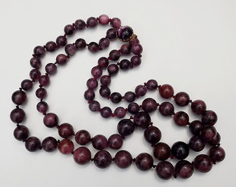 Vintage Original By Robert Necklace Big Marbled Plastic Beads 2 Strand Purple Black Pink Mauve Old Costume Jewelry