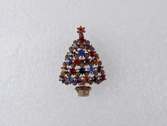 Vintage Rare Eisenberg Ice Christmas Tree Pin Jewel Tone Rhinestones  Pine Cone Florets  Old Costume Jewelry