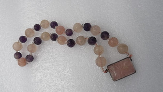 Vintage Chinese Carved Amethyst & Rose Quartz Shou Bead Necklace Sterling Silver Old Costume Jewelry