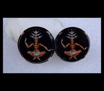Large Black Reverse Carved Glass Intaglio Siam Thai Dancer Goddess Earrings Copper Silver Old Costume Jewelry