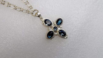 Brighton VERSAILLES NEPTUNE CROSS Silver Blue Necklace New With Tag MSRP $115 Old Costume Jewelry