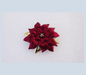 Shimmering Christmas Red Poinsettia Brooch Heavy Satin Enamel Finish Holiday Jewelry Old Costume Jewelry Holiday