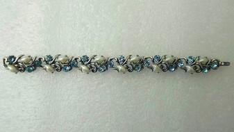 "Vintage Lisner Bracelet  Faux ""Baby Tooth"" Pearls & Aqua Blue Rhinestones Silver Rhodium Plated Old Costume Jewelry"