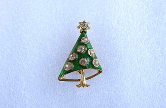 Vintage Christmas Tree Brooch Brilliant Diamante Prism Cut Crystal Stones & Intense Green Enamel Old Costume Jewelry