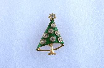 Vintage Christmas Tree Brooch Brilliant Diamante Prism Cut Crystal Stones & Intense Green Enamel Old Costume Jewelry
