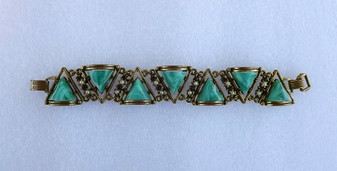 Unique SELRO SELINI Wide Bracelet Green Marbled Pyramid Stones High Relief Antique Brass Old Costume Jewelry