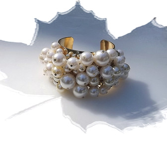 Gorgeous ChaCha Pearls Pearl Cuff Bracelet, Wide Elegant Chunky w/ Rhinestone Accents