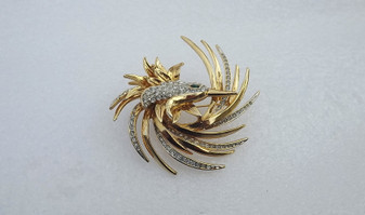 Beautiful Copy of The Boucher Art Deco Bird Brooch 9022 P Pave Rhinestones Unmarked