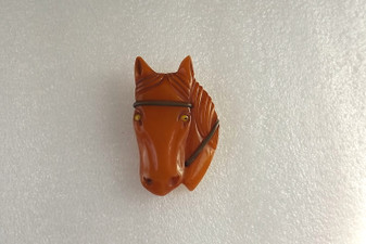Iconic Vintage Carved Butterscotch Bakelite Horse Head Brooch Glass Eyes Old Costume Jewelry