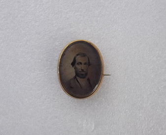 3D Antique GEORGIAN Victorian OVAL Gold Filled Photo Picture Pin Mourning Brooch Old Costume Jewelry