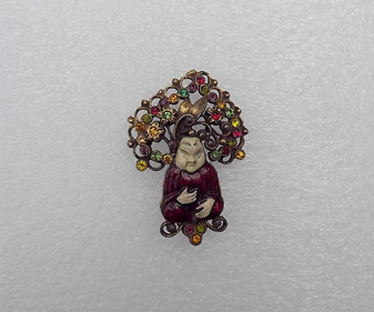 Chinese Sitting Zen Buddhist Monk Brooch Enamel Big Jeweled Crown Headpiece Oriental Pin Old Costume Jewelry