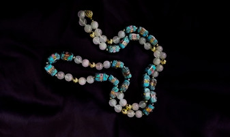 Vintage Stunning Ornate Pink Blue Gold Wedding Cake Bead Necklace & Rose Quartz Beads 32 inches Long Rare Cuboid Beads