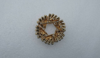 Not Just Christmas Jewelry Coro Wreath Brooch Gold Tone Clear Rhinestones 3D Vintage Pin Old Costume Jewelry