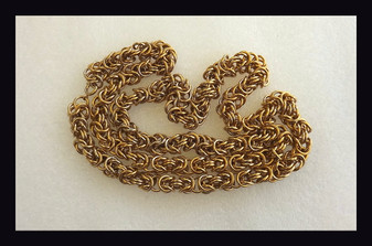 Gorgeous Thick Rope Chain Gold Plated Heavy 36 Inch Long Multi Link Twist Old Costume Jewelry