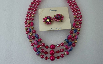 Not Just Christmas Jewelry Vintage 3 Strand Necklace Earrings Set Holiday Red Satin Pearly Colors Deep Purple Blue Too!
